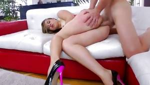 Captivating young blond model is human copulated in her slit very hard