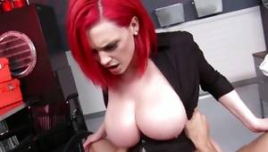 Peerless red-haired with huge jugs used in cunt