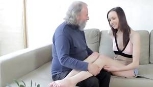 Erotic and randy old dude is tenderly giving a French babe's captivating nipples