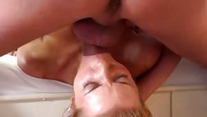 Blonde sluttish gal with barbaric filthy chaps