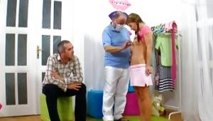 Blossoming happy princess is getting nude and is abused by an older dude and a man