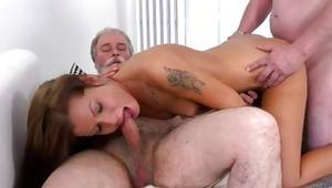 Pretty inexperienced having intense MMF sexual intercourse with gaffers