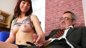 Brown-haired nice-looking beauty is getting her buggered with the hard cute dick