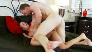 Brown-haired with oiled ass riding a massive overweight penis
