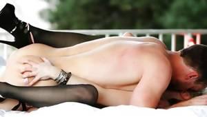 Cheery blonde on high heels slammed on porn