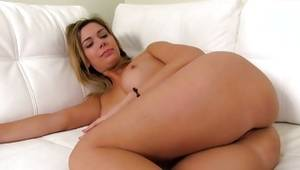 Natural blonde vicious whore is posing bare